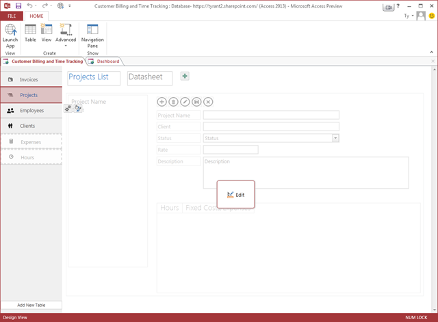 Time and Billing Web Application in Access 2013 design mode