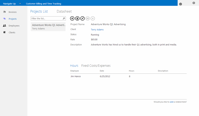 Time and Billing Web Application Running in SharePoint 2013