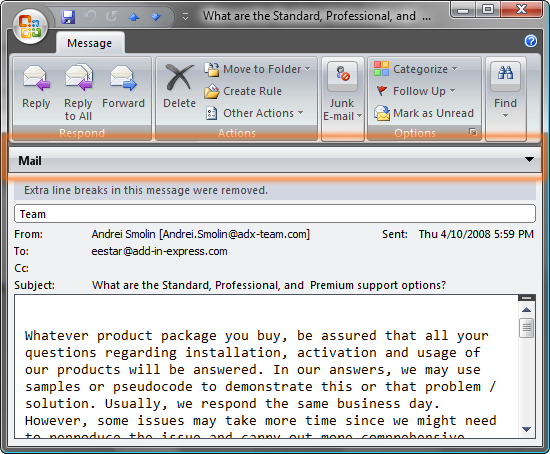 Highlighted Outlook inspector region header
