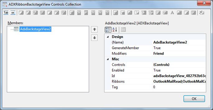 RibbonBackstageView controls collection