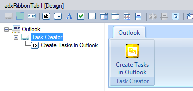 Create tasks in Outlook button
