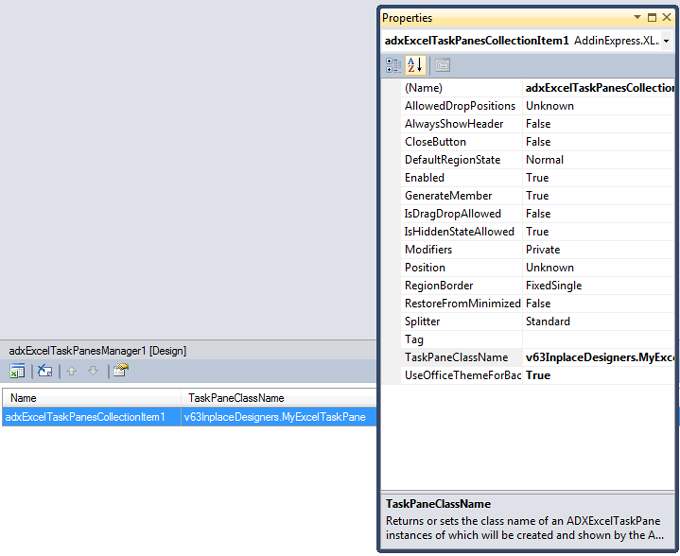 Accessing the properties of the task panes collection item from Visual Studio