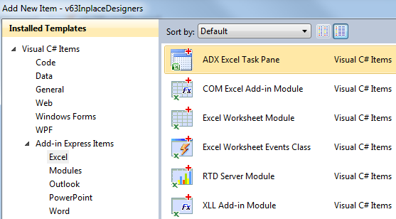 Adding a new ADX Excel Task Pane