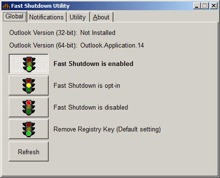 Fast Shutdown Utility: Global tab