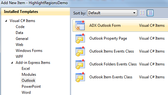 Adding a new ADX Outlook Form