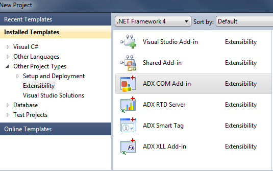 Creating a new ADX COM Add-in Project in Visual Studio 2010