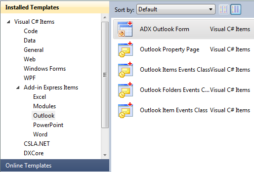 Adding a new Outlook Form
