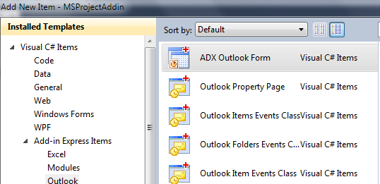 Adding a new Add-in Express Outlook Form