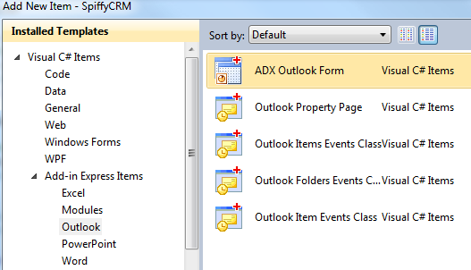 Adding an Add-in Express Outlook form item