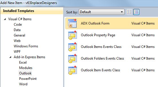 Adding an Outlook Form item