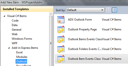 Adding a new Outlook item events class