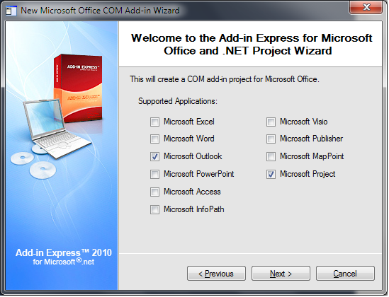 Selecting Outlook and Project as supported applications