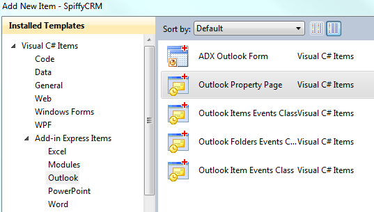 Adding a new Outlook Property Page Item