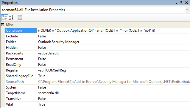 Setting the Register and Condition properties for secman64.dll