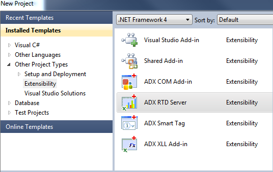 Creating a new RTD project in Visual Studio 2010