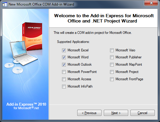 Selecting Microsoft Office applications to be supported by the add-in