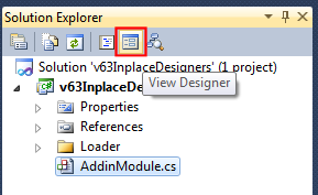 Switching to the AddinModule's designer