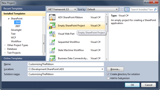Creating a new Empty SharePoint Project in Visual Studio 2010
