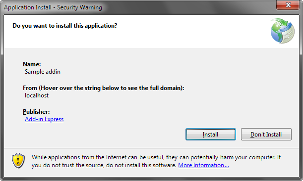 Application install - Security Warning