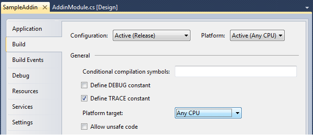 Setting the Platform target property to Any CPU