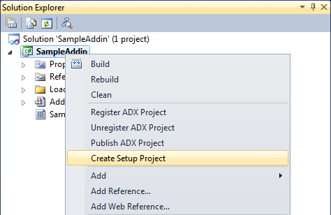 Create Setup Project menu item