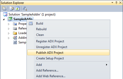 Publish ADX Project menu item
