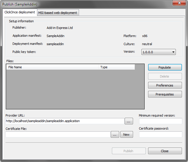 Publish dialog, ClickOnce deployment tab