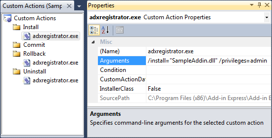 Custom action for adxregistrator.exe