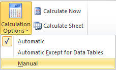 Setting the calculation mode in Excel 2010