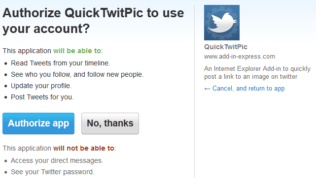 A user is asked to allow our IE add-in to access their Twitter account