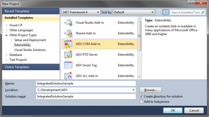Creating a new Add-in Express COM Add-in project in Visual Studio