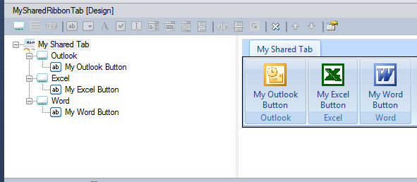 Creating a shared ribbon tab for Outlook, Excel, Word using the Add-in Express in-place designer