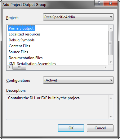 Selecting the Excel specific add-in in the Project dropdown list