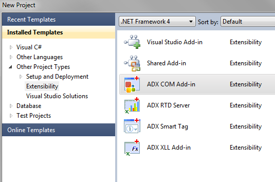 Create a new COM Add-in project in Visual Studio