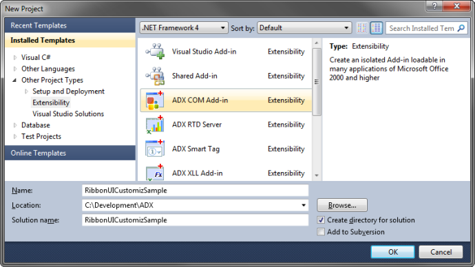 Creating a new Add-in Express COM Add-in project in Visual Studio 2010