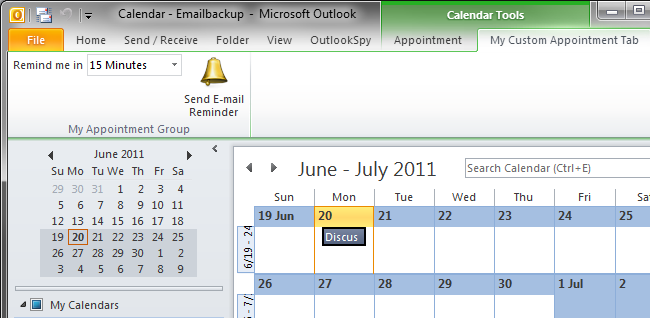 Contextual Ribbon tab shows when the user selects an appointment in the Outlook calendar.