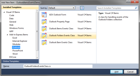 Adding a new Outlook Folder Events Class to your project