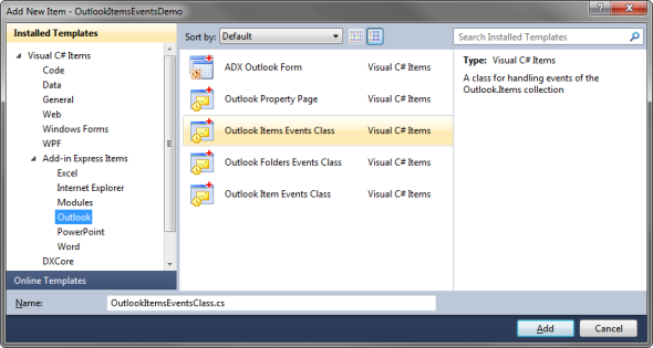 Adding a new Outlook Items Events Class to your project