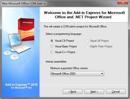 Selecting Visual C# Project and Office 2000 as the minimum supported version