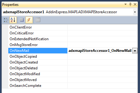 Adding an event handler for the MAPI Store Accessor's OnNewMail even