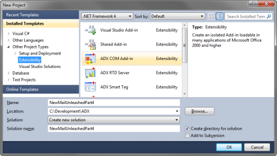Creating a new COM Add-in in Visual Studio