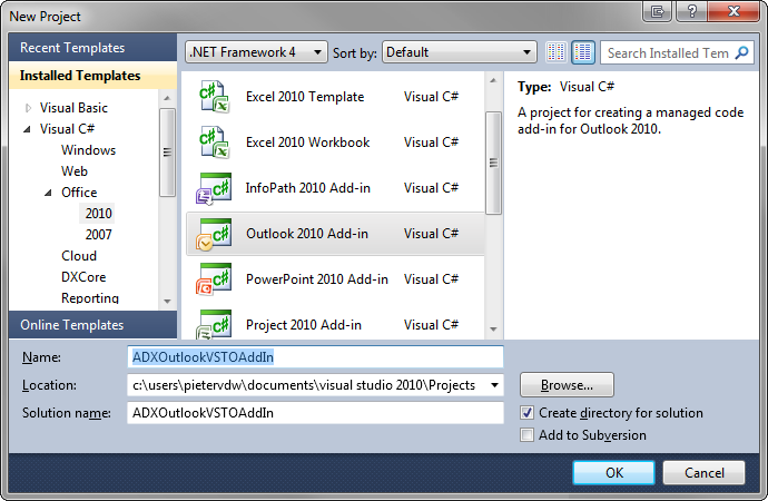 Create a new Outlook 2010 Add-in project in Visual Studio 2010