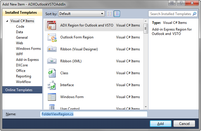 Add a new ADX Region for Outlook and VSTO
