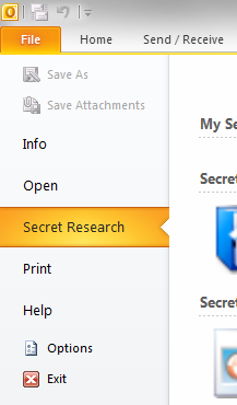 Secret Research tab in-between Print and Open