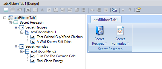 Adding a new Ribbon Tab component to the add-in module's designer