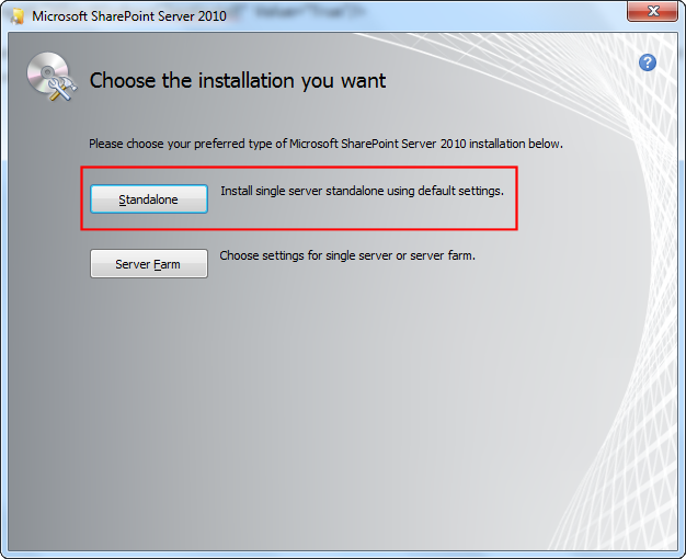 When prompted to choose the installation, select Standalone.