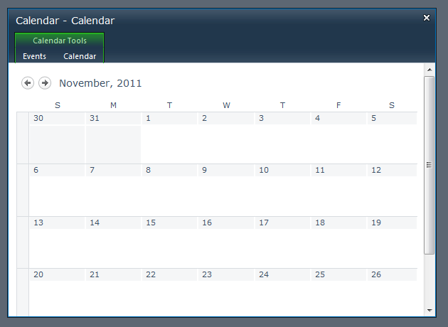 A calendar view in a modal dialog displayed using the built-in SharePoint Modal API