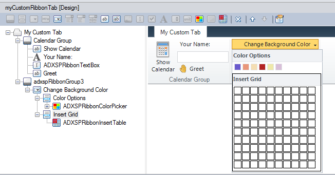 Colour Picker and Insert Table controls