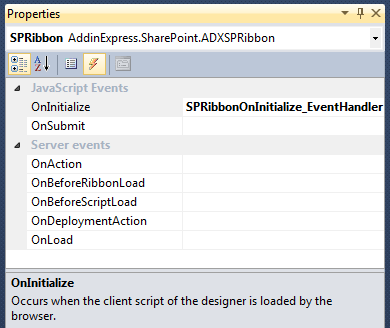 Adding a JavaScript event handler for the OnInitialize event of the Ribbon Designer