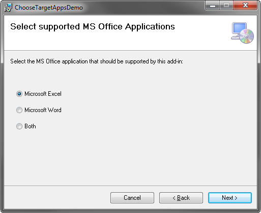 Selecting the supported MS Office application